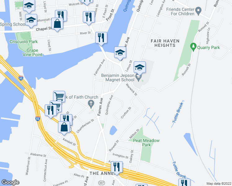 map of restaurants, bars, coffee shops, grocery stores, and more near 233 Quinnipiac Avenue in New Haven