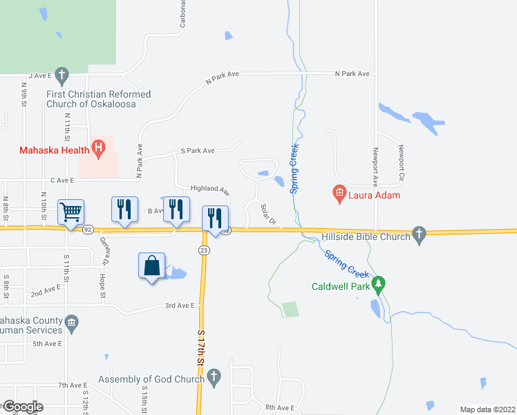map of restaurants, bars, coffee shops, grocery stores, and more near 125 Solar Drive in Oskaloosa