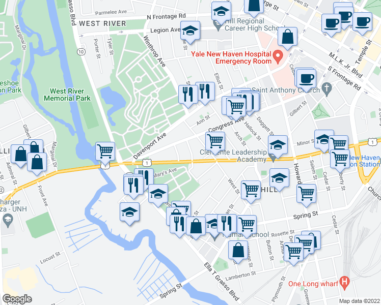 map of restaurants, bars, coffee shops, grocery stores, and more near 18 Bond Street in New Haven