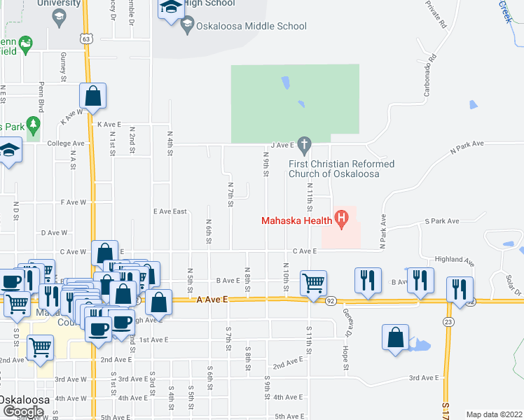 map of restaurants, bars, coffee shops, grocery stores, and more near 461 North 9th Street in Oskaloosa