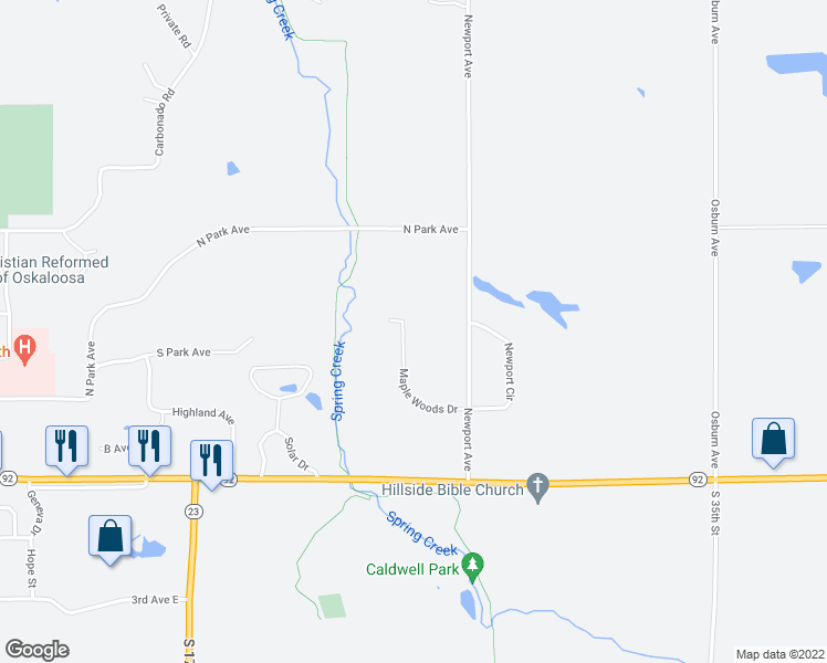 map of restaurants, bars, coffee shops, grocery stores, and more near 2506 Maple Woods Drive in Oskaloosa