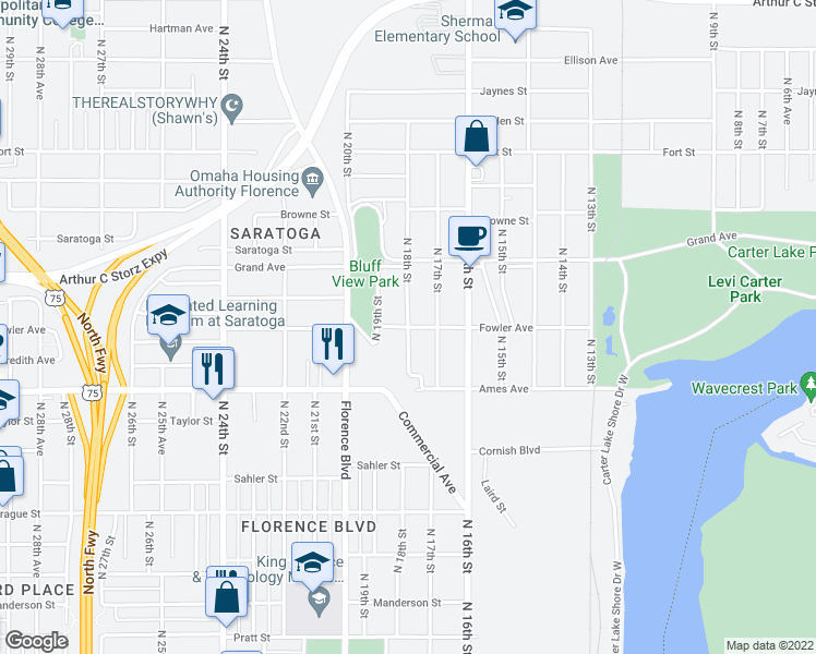 map of restaurants, bars, coffee shops, grocery stores, and more near Fowler Ave & N 18th St in Omaha