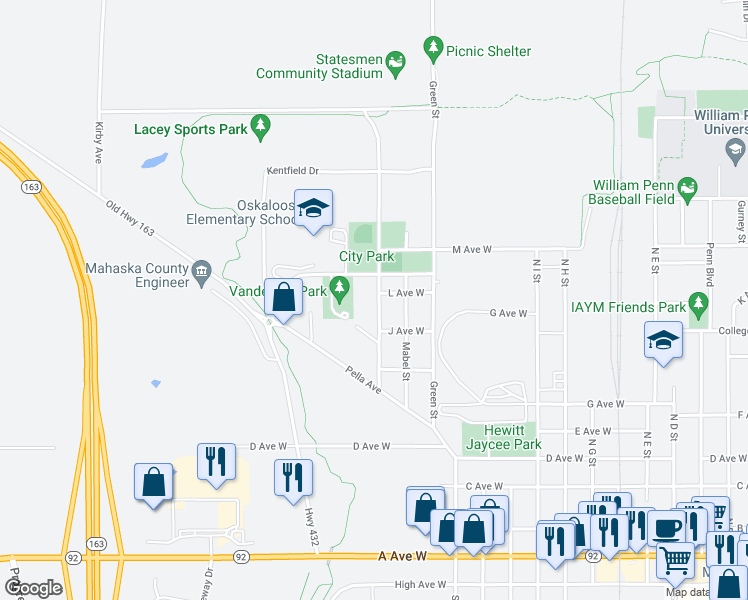 map of restaurants, bars, coffee shops, grocery stores, and more near 1215 Santa Clara Street in Oskaloosa