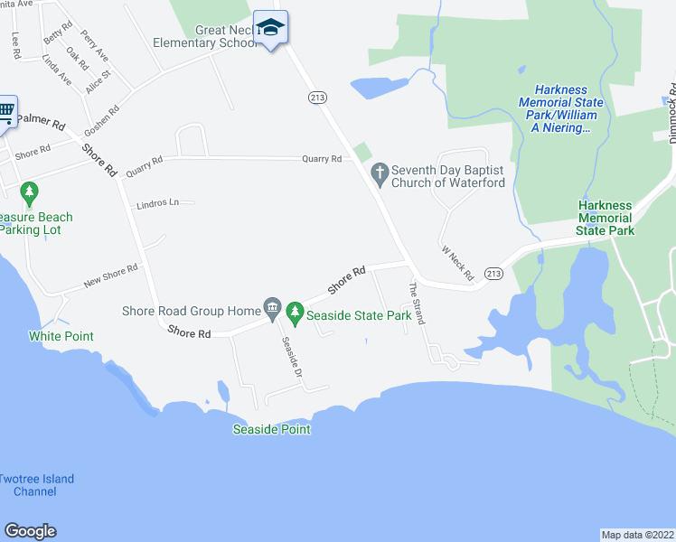 map of restaurants, bars, coffee shops, grocery stores, and more near 17 Shore Road in Waterford