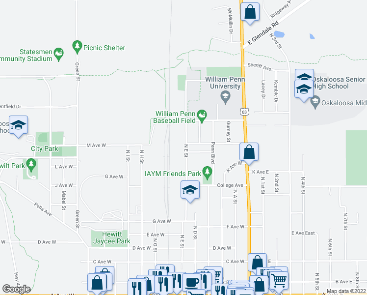 map of restaurants, bars, coffee shops, grocery stores, and more near 933 North E Street in Oskaloosa