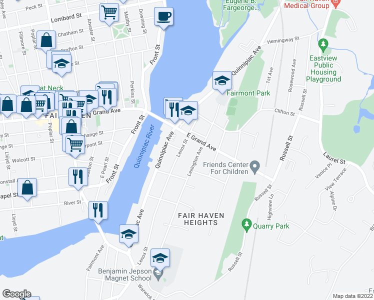 map of restaurants, bars, coffee shops, grocery stores, and more near 305 Lenox Street in New Haven