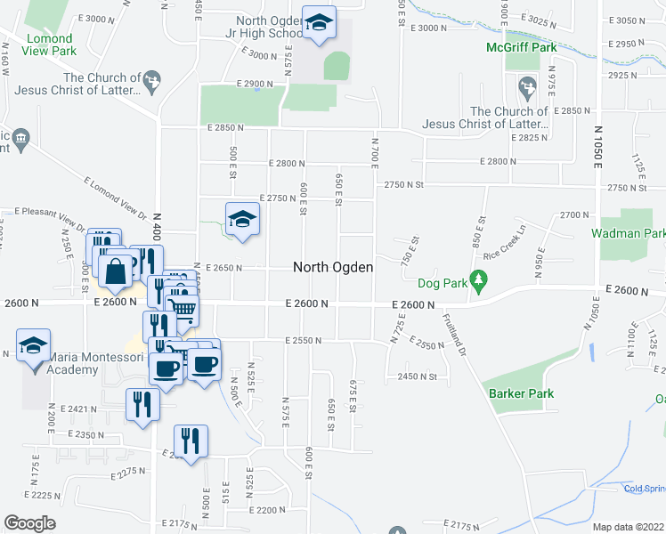 map of restaurants, bars, coffee shops, grocery stores, and more near 2601-2649 650 East Street in North Ogden