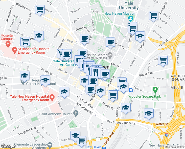 map of restaurants, bars, coffee shops, grocery stores, and more near Chapel St & College St in New Haven