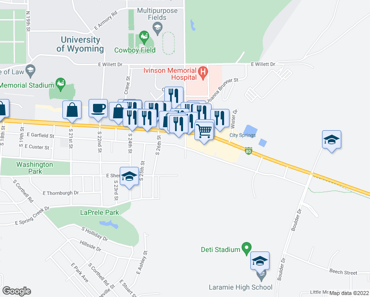 map of restaurants, bars, coffee shops, grocery stores, and more near 404 South 30th Street in Laramie