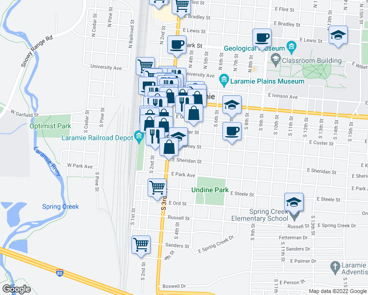 map of restaurants, bars, coffee shops, grocery stores, and more near 513 South 4th Street in Laramie