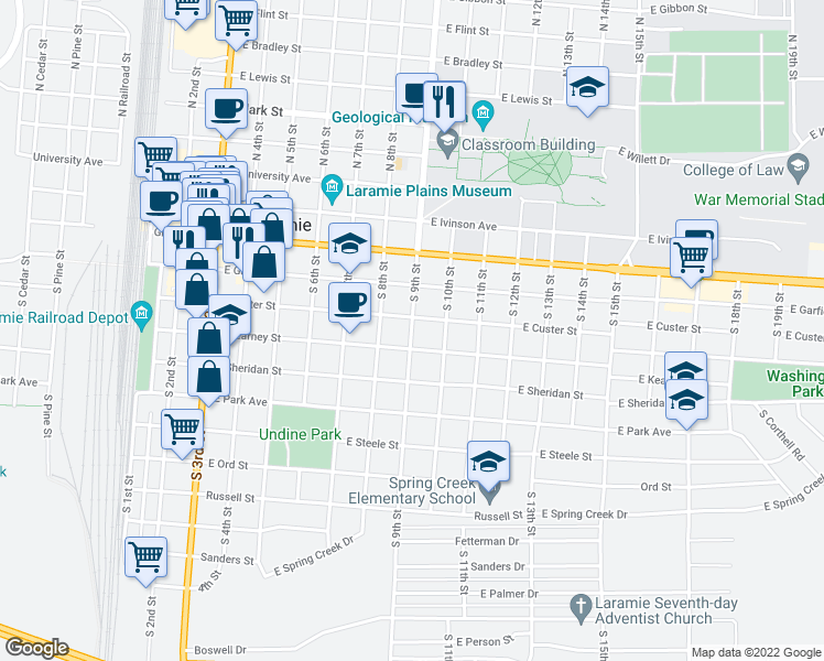 map of restaurants, bars, coffee shops, grocery stores, and more near South 9th Street in Laramie