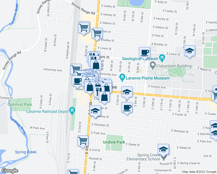 map of restaurants, bars, coffee shops, grocery stores, and more near in Laramie