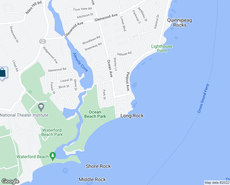 map of restaurants, bars, coffee shops, grocery stores, and more near 1136 Ocean Avenue in New London