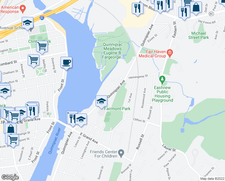 map of restaurants, bars, coffee shops, grocery stores, and more near 884 Quinnipiac Avenue in New Haven