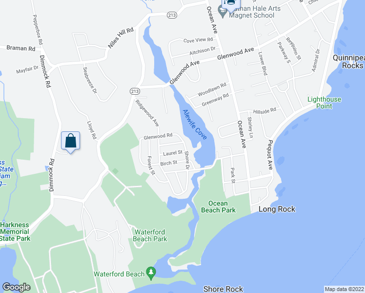 map of restaurants, bars, coffee shops, grocery stores, and more near 47 Shore Drive in Waterford