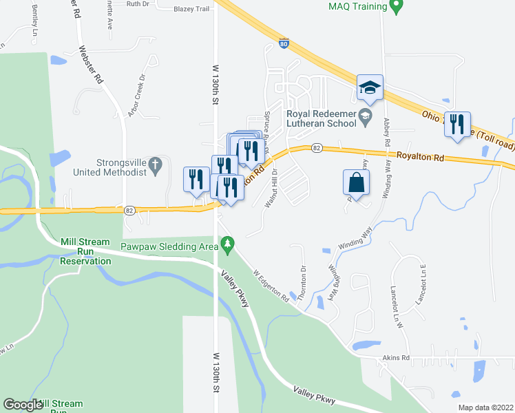 map of restaurants, bars, coffee shops, grocery stores, and more near 12601 Walnut Hill Drive in North Royalton