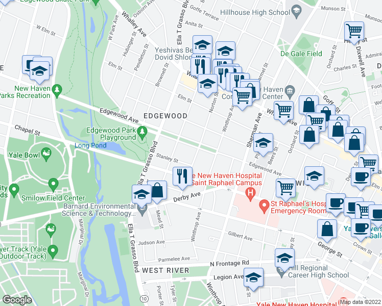 map of restaurants, bars, coffee shops, grocery stores, and more near 98 Norton Street in New Haven