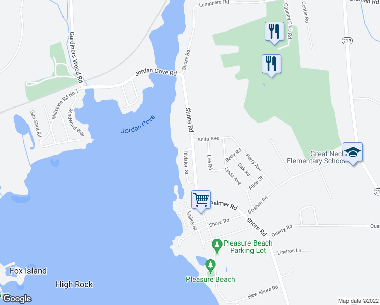 map of restaurants, bars, coffee shops, grocery stores, and more near 190 Shore Road in Waterford