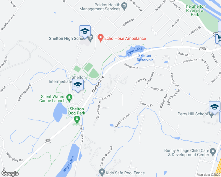 map of restaurants, bars, coffee shops, grocery stores, and more near Tamarac Ridge Circle in Shelton
