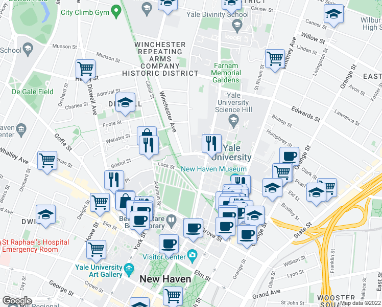 map of restaurants, bars, coffee shops, grocery stores, and more near Sachem Street & Mansfield Street in New Haven