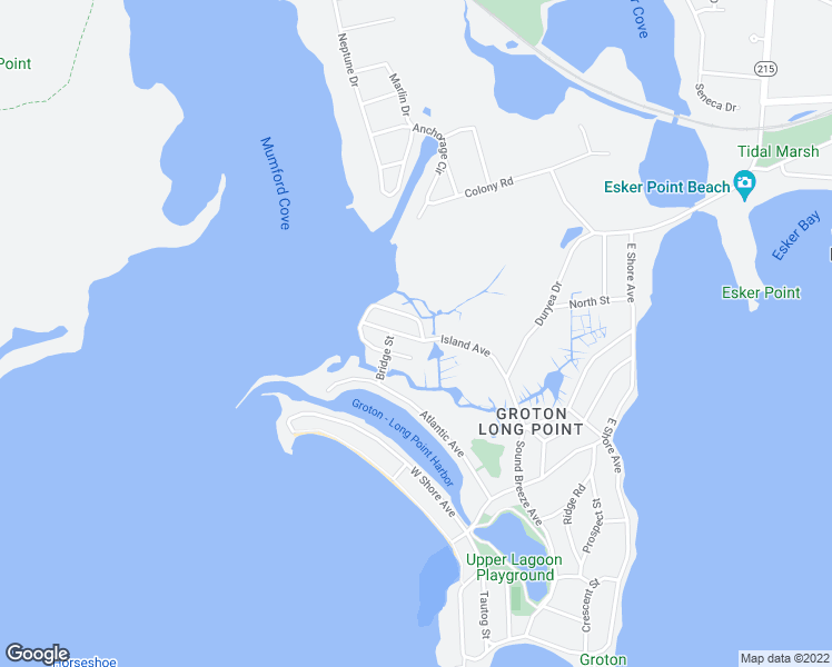 map of restaurants, bars, coffee shops, grocery stores, and more near 4 Island Avenue in Groton