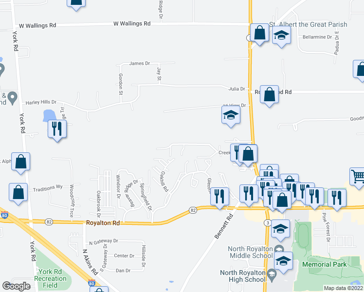 map of restaurants, bars, coffee shops, grocery stores, and more near 7603 Creekwood Drive in North Royalton
