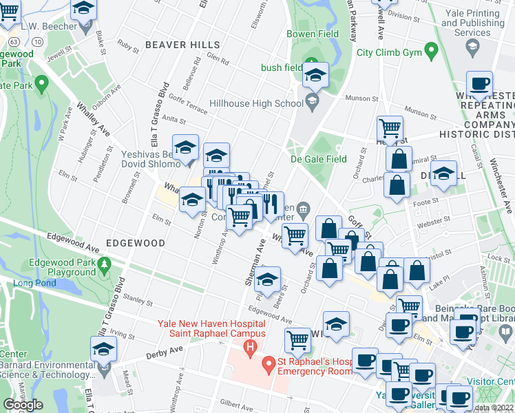 map of restaurants, bars, coffee shops, grocery stores, and more near 31 Carmel Street in New Haven