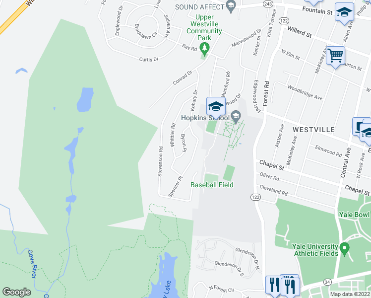 map of restaurants, bars, coffee shops, grocery stores, and more near 60 Byron Place in New Haven