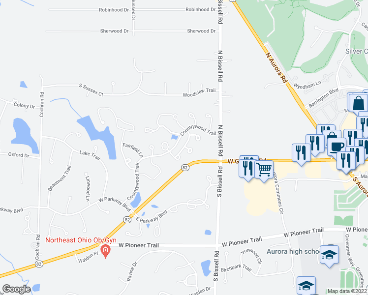 map of restaurants, bars, coffee shops, grocery stores, and more near Sheffield Court in Aurora