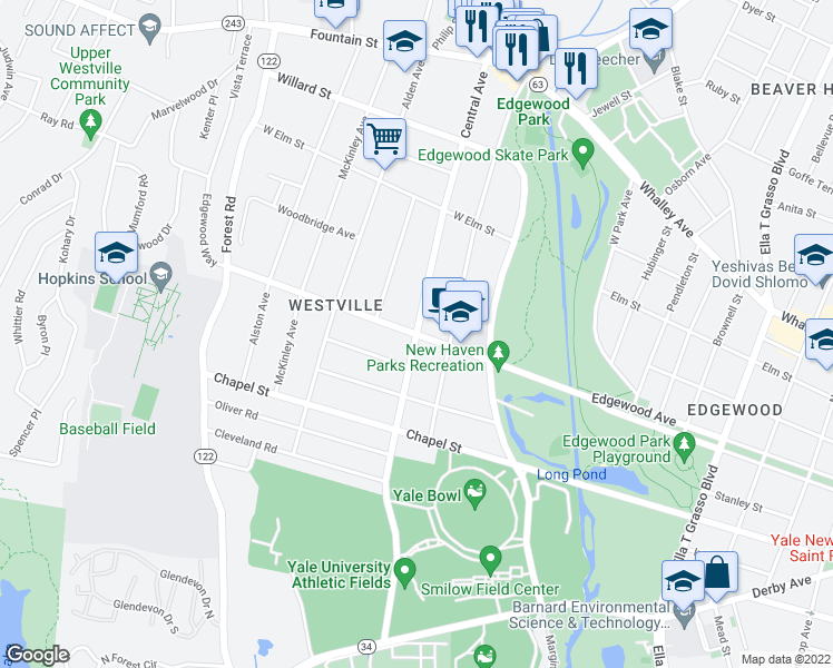 map of restaurants, bars, coffee shops, grocery stores, and more near Central Avenue in New Haven