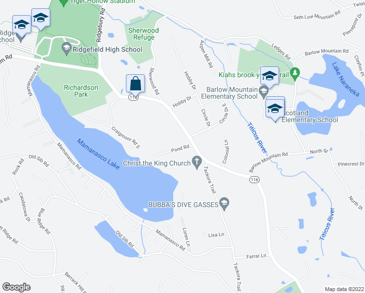 map of restaurants, bars, coffee shops, grocery stores, and more near 26 Pond Road in Ridgefield