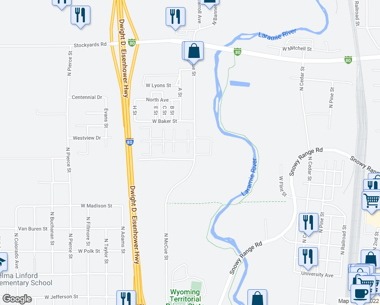 map of restaurants, bars, coffee shops, grocery stores, and more near 954 North McCue Street in Laramie