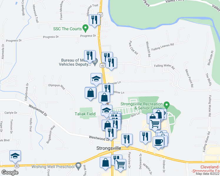 map of restaurants, bars, coffee shops, grocery stores, and more near 12645 Pearl Rd in Strongsville