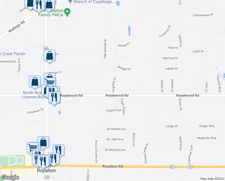 map of restaurants, bars, coffee shops, grocery stores, and more near 10892 Angelina Drive in North Royalton