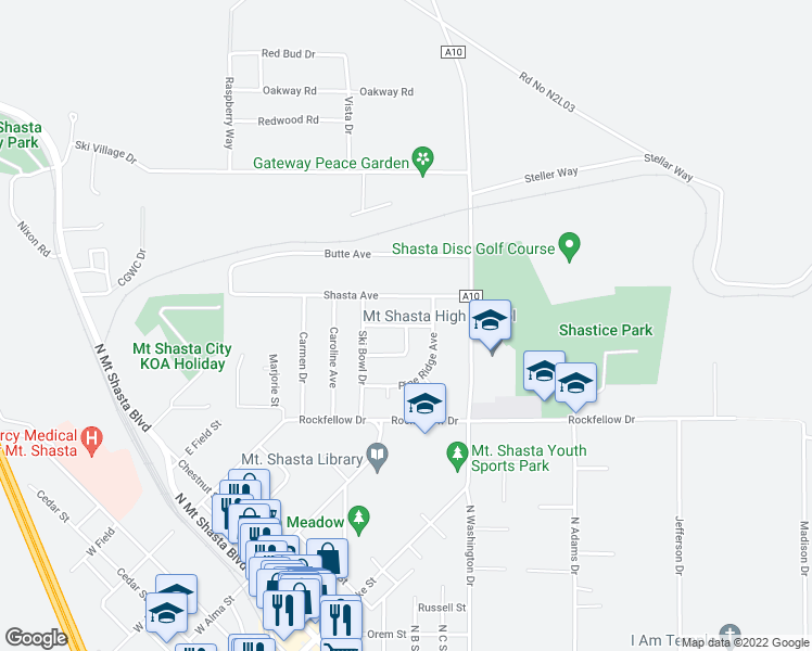 map of restaurants, bars, coffee shops, grocery stores, and more near Terry Lynn Avenue in Mount Shasta