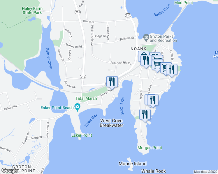 map of restaurants, bars, coffee shops, grocery stores, and more near 82 Marsh Road in Groton