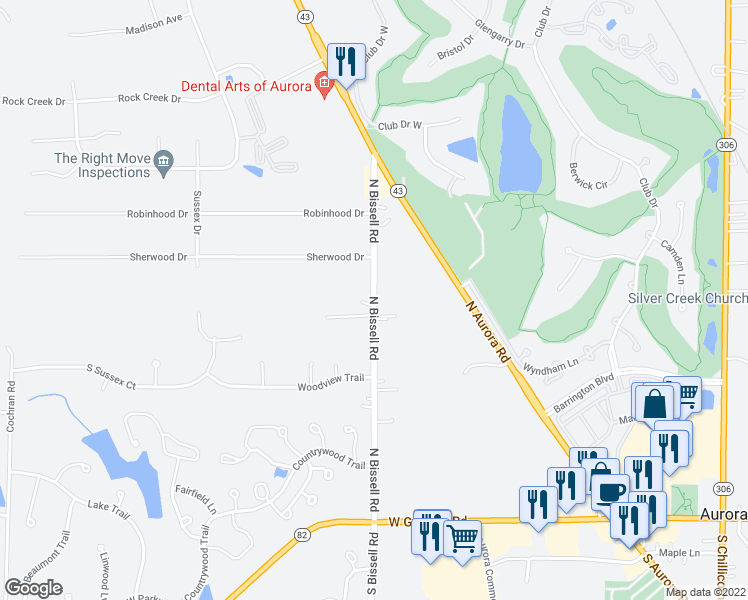 map of restaurants, bars, coffee shops, grocery stores, and more near North Bissell Road in Aurora