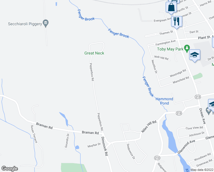 map of restaurants, bars, coffee shops, grocery stores, and more near 33 Pepperbox Road in Waterford