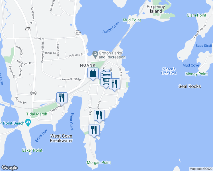 map of restaurants, bars, coffee shops, grocery stores, and more near 1 Pearl Street in Groton