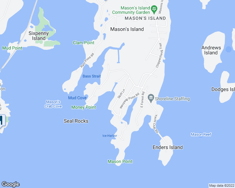 map of restaurants, bars, coffee shops, grocery stores, and more near 14 Skiff Lane in Mystic