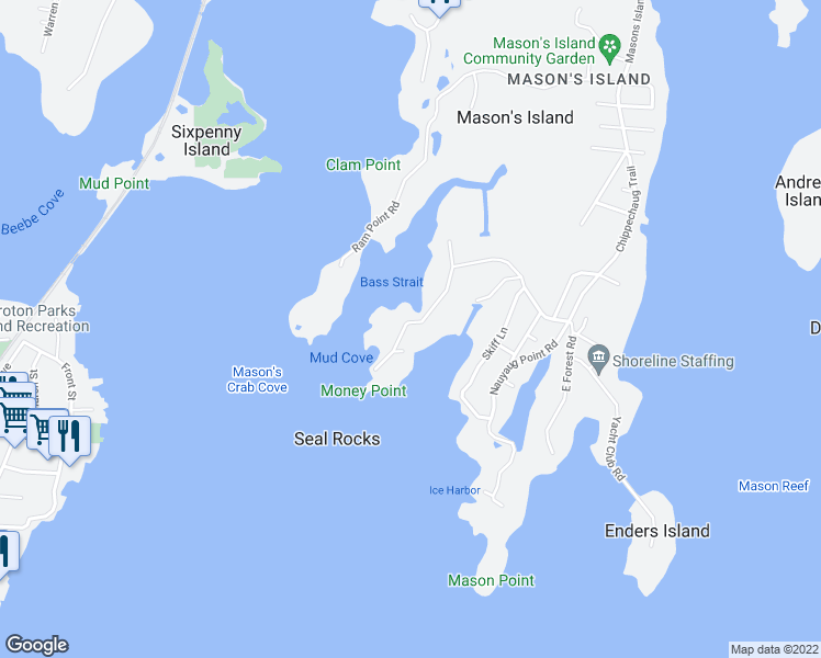 map of restaurants, bars, coffee shops, grocery stores, and more near 31 Money Point Road in Stonington