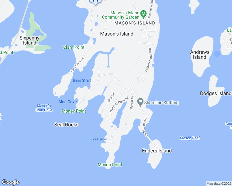 map of restaurants, bars, coffee shops, grocery stores, and more near 5 Skiff Lane in Stonington