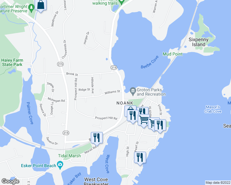 map of restaurants, bars, coffee shops, grocery stores, and more near 21 Williams Street in Groton