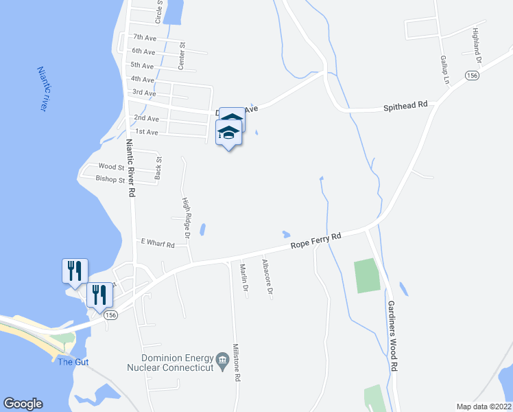 map of restaurants, bars, coffee shops, grocery stores, and more near 13 Sea View Terrace in Waterford