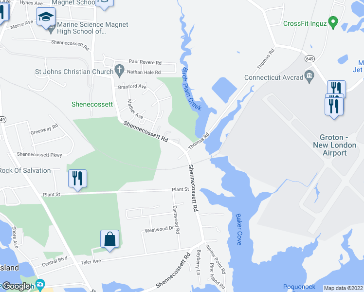 map of restaurants, bars, coffee shops, grocery stores, and more near 584 Shennecossett Road in Groton
