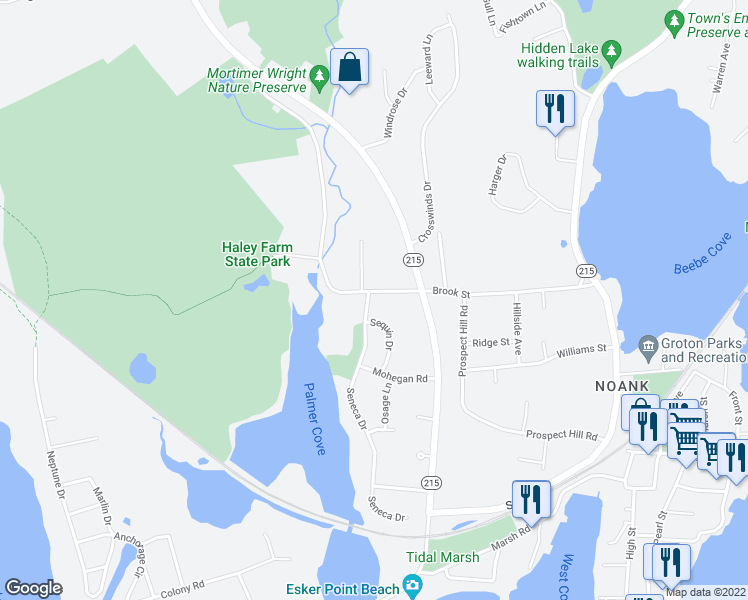 map of restaurants, bars, coffee shops, grocery stores, and more near 6 Seneca Drive in Groton