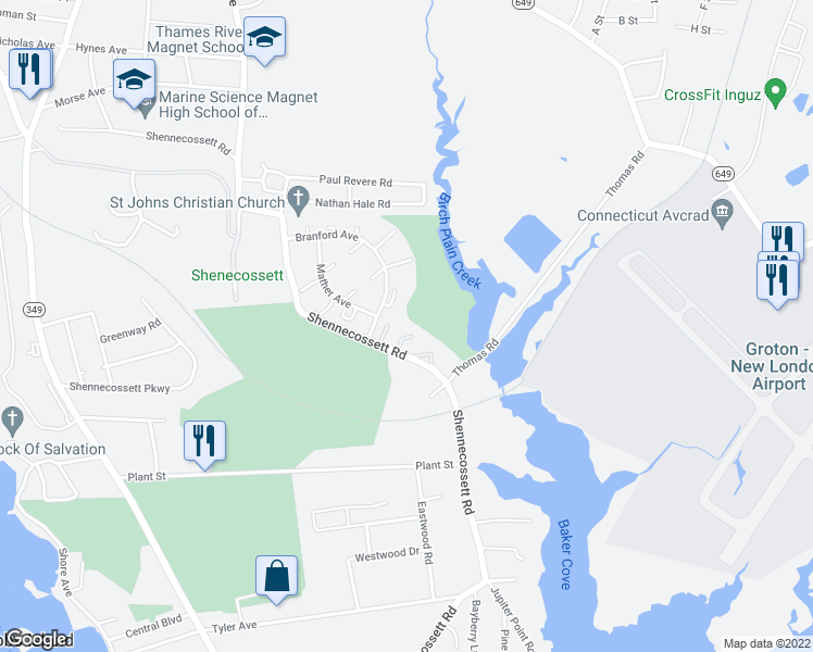 map of restaurants, bars, coffee shops, grocery stores, and more near 552 Shennecossett Road in Groton