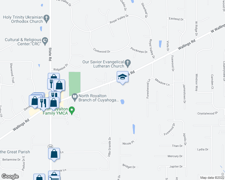 map of restaurants, bars, coffee shops, grocery stores, and more near 11221 Villa Grande Drive in North Royalton