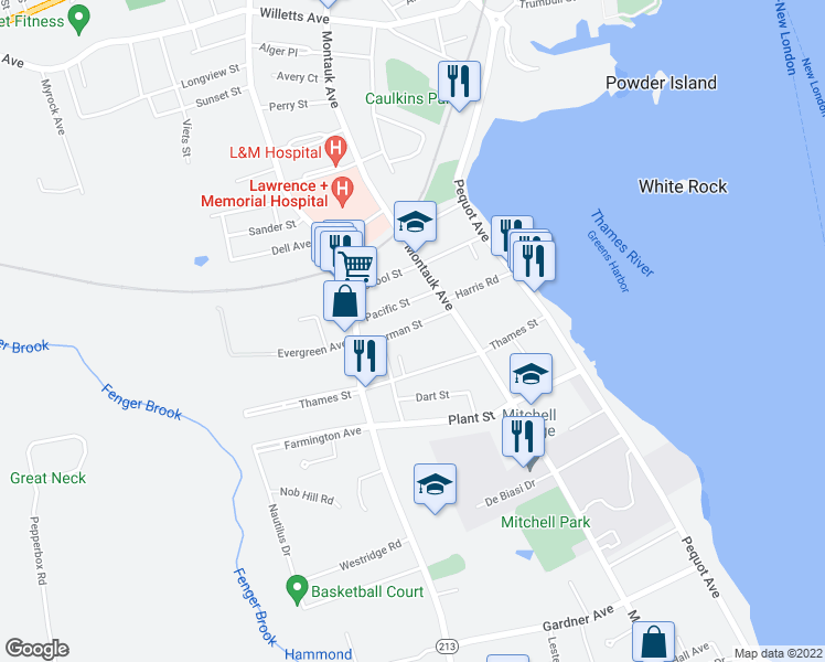 map of restaurants, bars, coffee shops, grocery stores, and more near 32 Sherman Street in New London