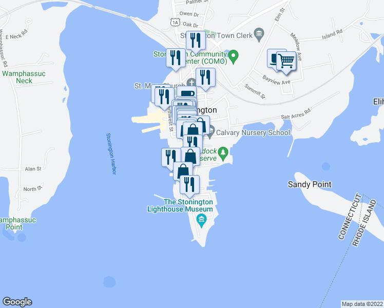 map of restaurants, bars, coffee shops, grocery stores, and more near 6 Harmony Street in Stonington